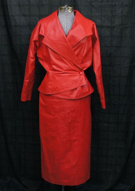 Vintage Women's 80's/90's Red Leather Skirt Suit
