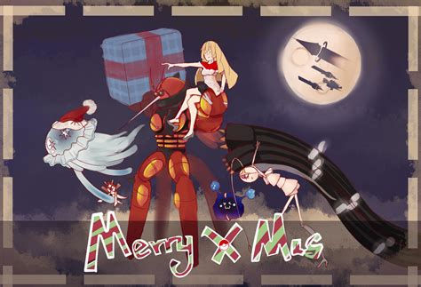 Lusamine, Nebby, and the Ultra Beasts delivering Christmas