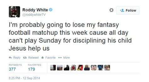 Roddy White Tweets Out Adrian Peterson Joke, Quickly