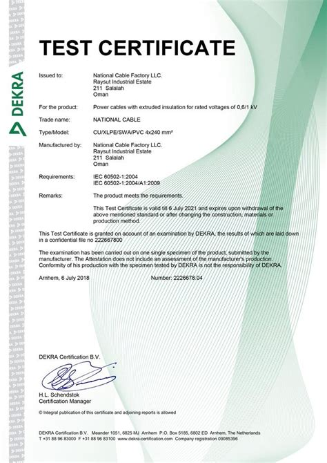 Approvals and Certifications – National Cable Factory