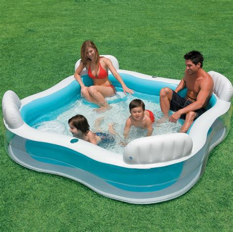 inflatable square pool with seat and cushion, intex